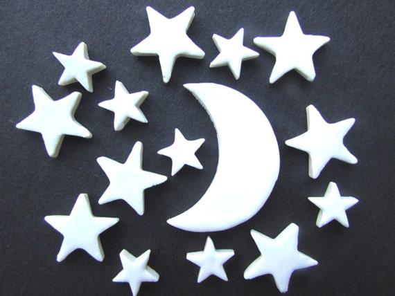 15 handmade pretty ceramic star and moon mosaic tile shapes