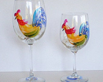 Set of 4-17oz Rooster wine glasses, Hand Painted