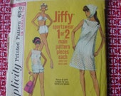 Vintage Simplicity Pattern  6020, 1960s, Size 16 Jiffy Dress or top, Two Piece Bathing Suit and Scarf
