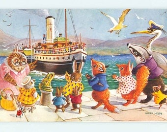 Waiting for the Steamer, Dressed Animals, Colorful English Postcard, Racey Helps, Pkt 383 vintage postcard, SharonFosterVintage