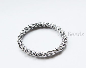 4pcs Oxidized Silver Tone Base Metal Rings- 38mm (22065Y-B-481)