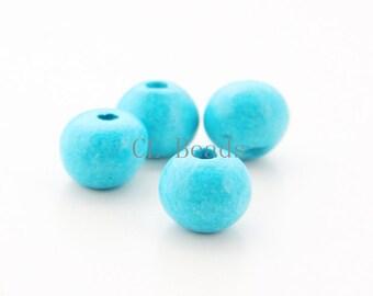 10pcs Greece Ceramic Round Beads - Turquoise 10x13mm (9503)