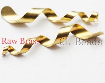 20pcs Raw Brass Twisted Charm - 39x6mm (1826C-U-16)
