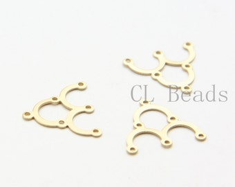 6pcs Matte 16K Gold Plated Brass Base Findings - 1 to 3 Components - 17x15mm (1736C-U-21)