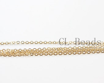 3 Feet  Premium Gold Plated Brass Base Chains - Flat Oval 2.2x1.6mm (1808C08)(235SFB)