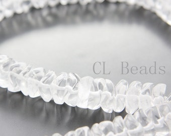 15.5 Inch Full Strand Natural Clear Quartz Beads-Waved Disk 15x6mm (123)