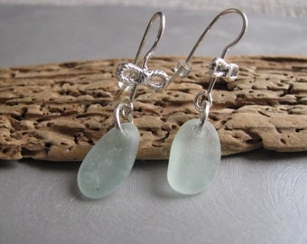 Sea Glass  Earrings - Unique Jewelry - Beach Glass Earrings - Seafoam Sea Glass