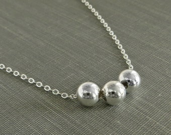 Sterling Silver Bead Necklace - Three Dainty Polished Silver Balls - Simple Modern Minimal Jewelry