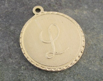 Round Brass Letter L Initial Charms for Bracelets or Pendants 1488L - 4 Pieces