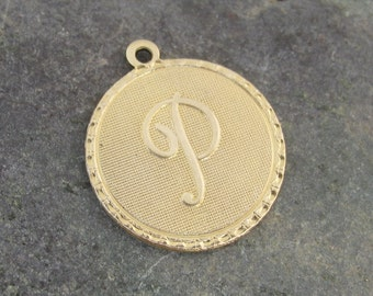 Round Brass Letter P Initial Charms for Bracelets or Pendants 1488P - 4 Pieces