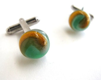 Pastel Blue, Mustard Yellow and Teal Glass Planet Cufflinks