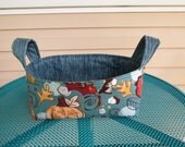 Fabric Basket Bin Storage Organization in Flowers, Leaves, and More on Blue Small Size