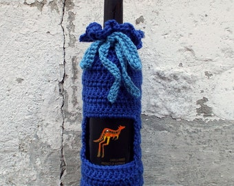 Royal Blue Wine Cozy, Crochet Wine Bag, Bottle Gift Bag, Wine Holder, Gift Sack