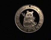 LIBERIA - cut coin pendant - 1997 - w/ Panda Bear