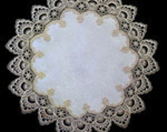 """24"""" Doily or Placemat Round with Gold European Peacock Lace and Antique White Fabric"""