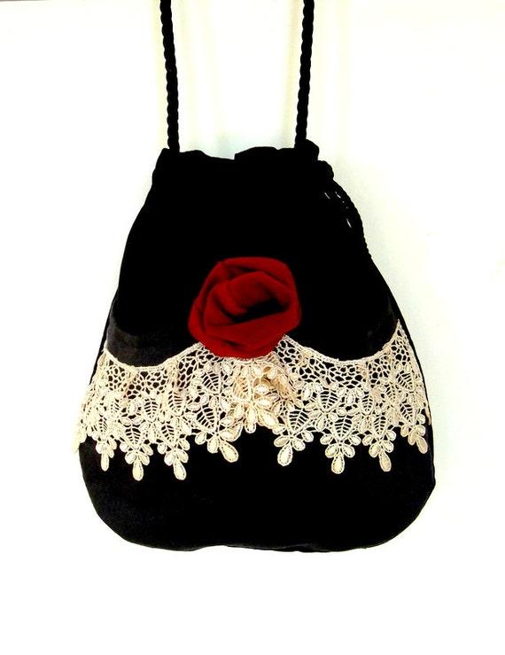 Victorian Bag Rose and Lace   Mori Girl  Black Velvet Bag  Drawstring velvet bag Bag  Crossbody Drawstring Bag  Evening Bag