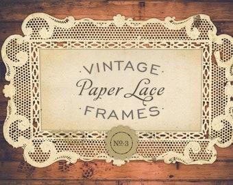 INSTANT DOWNLOAD - Antique Paper Lace Frames Graphics No. 3, Print, Web, Scrapbook, Design - Commercial Use OK