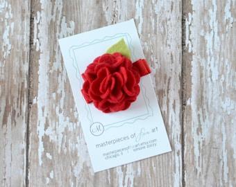 Red Felt Carnation Flower Hair Clip - crimson - SMALL scallop carnation style - felt hair clippie - felt flower hair bow with non slip grip