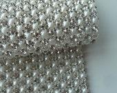 Custom Listing for Rita /PERLA Rhinestone  Banding, Trim / Clear Crystal and Pearl w/ Silver Backing / 3 Row, 1 yard