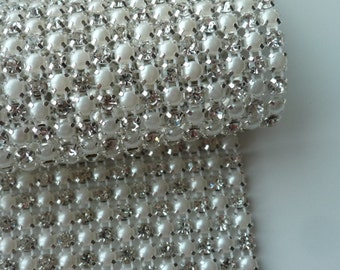 PERLA Rhinestone  Banding, Trim / Clear Crystal and Pearl w/ Silver Backing / 4 Row, 1 yard