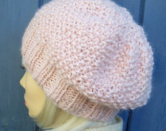 Easy Knitting Pattern Hat Straight Needles : Bramble WOMANS HAT PATTERN Handknit Chunky Slouch Hat ...