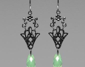 Chrysolite Opal Swarovski crystal earrings