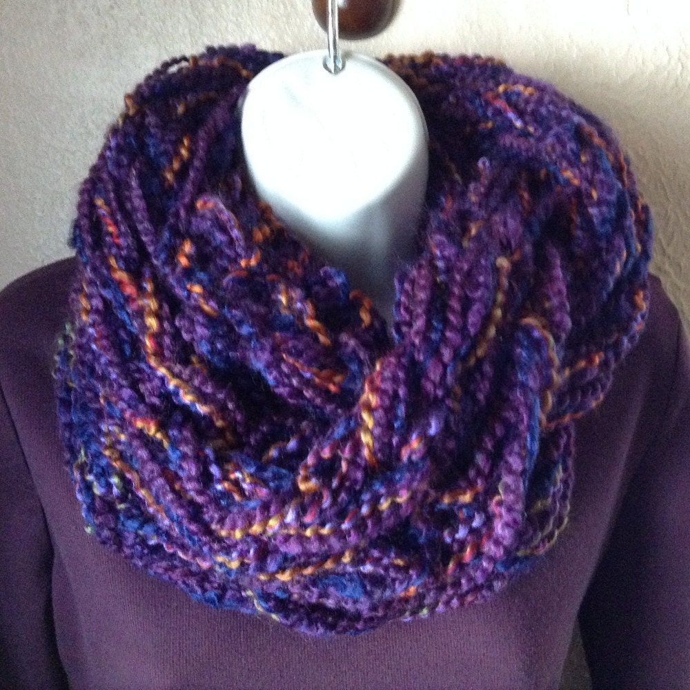 arm knit scarf arm knit infinity purple by signsfromtheheart
