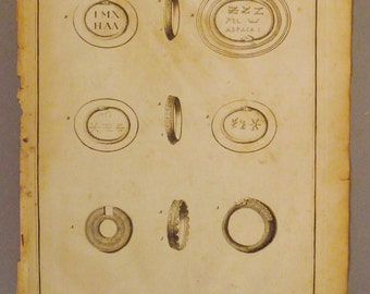 ANTIQUE AMULETS ORNAMENTS Of Basilides Canada Original steel Engraving 1700s 14 1/4 x 9 3/4 in Ready to frame