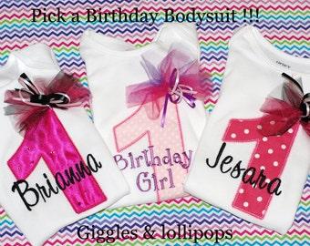 Girls personalized 1st birthday shirt bodysuit pick colors