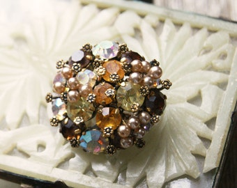 Amber Rhinestone Brooch by Triad, Autumn Jewelry Pin, Prong Set Stones, Vintage Bling, Gift for Her