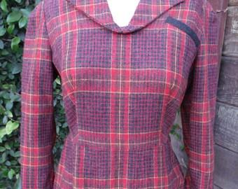 Vintage 60's Plaid Dress. Mad Men Wool Dress. XS/S