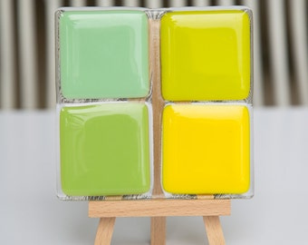 Fused Glass Coaster - mint, green, yellow and lemongrass