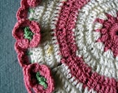 Adorable Vintage Pink, Green, and White Potholder with Flowers