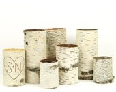 Sale, Collection of 7 birch bark vases/candle holders