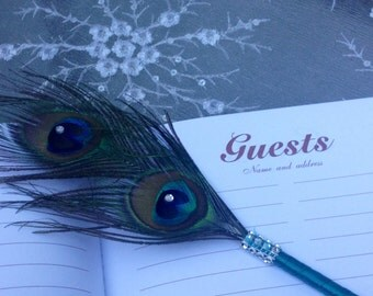 PEACOCK Double Feather Pen with BLING in Your Choice of Colors