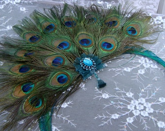 Hand-Held BRIDAL Peacock Feather Fan - CUSTOM Created for YOU