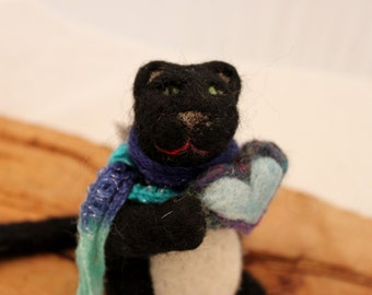 Black Cat, Needle Felted Black Cat with Blue Heart