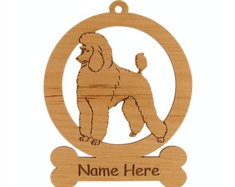 Poodle Ornament 083747 Personalized With Your Dog's Name - Free Shipping
