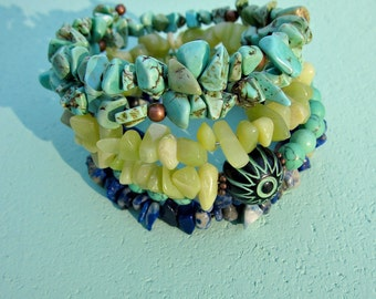 Beaded Adjustable Memory Wire Stacked Blue Green Stone Chip Bangle Bracelet: Evil Eye