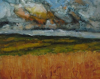 WHEATFIELD STORM Abstract Cloud LANDSCAPE -   Abstract Giclee print from my original oil painting -  Art