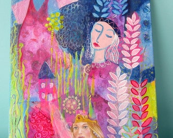 Aim for the Highest, mixed media painting on canvas board, 5 x 7ins. fairytale inspired