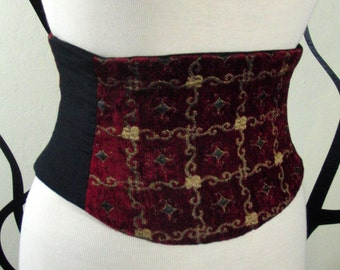 Corset Waist Cincher Merlot Red and Gold Tapestry Belt Any Size B
