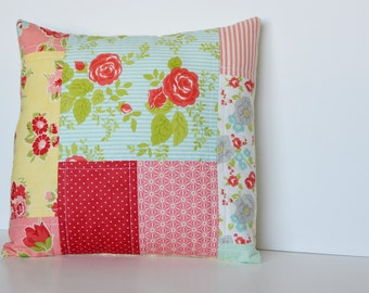 SALE** Red Scrappy Quilted Pillow Cover (throw pillow)