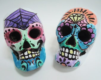 The Lovely Couple Paper Mache Suger Skulls