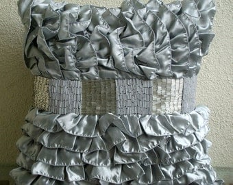 Decorative Throw Pillow Covers Accent Couch Pillow 18x18 Inch Silver Satin Ruffle Pillows Bead Embroidered Silver Glam Home Decor Housewares
