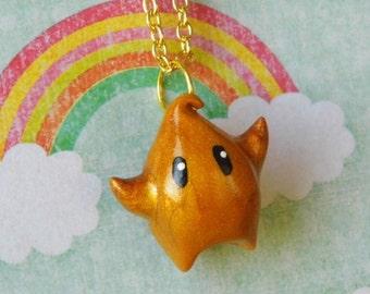 Kawaii Golden Luma Star Necklace from Super Mario Galaxy, Mario Jewelry