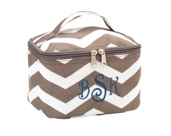 MINI Monogrammed Taupe Chevron Cosmetic Bag, Accessory Bag, Embroidered Bag, Bridesmaids
