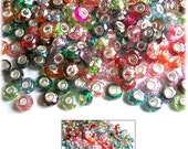 MERZIEs 50 silver faceted AB acrylic European chain 14x9mm charm spacer large 4.4mm hole beads - mixed colors
