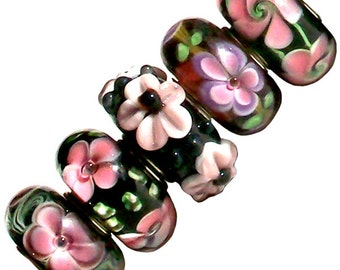 MERZIEs 5 silver Murano glass European Charm chain beads flower floral purple pink black green white - Combined Shipping