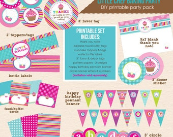 Little Chef - Cupcake Baking Birthday Party - DIY Printable Party Pack - Instant Download PDF File